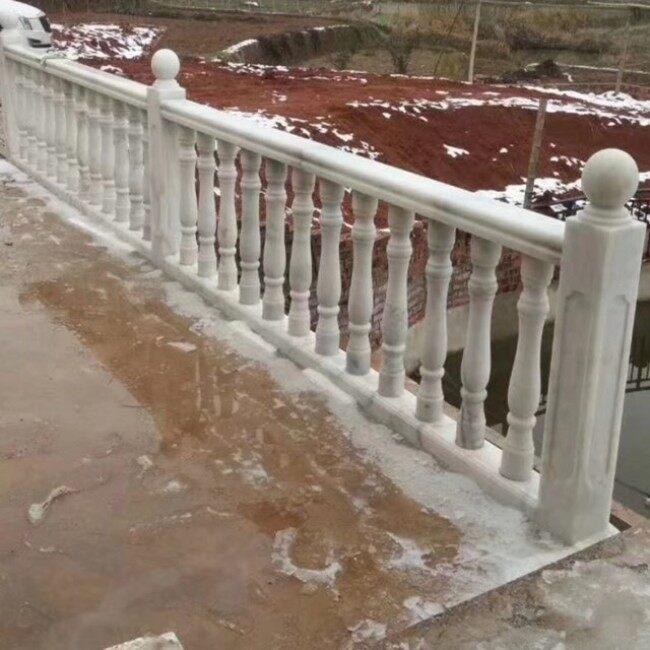 Guangxi  white marble balustrade, marble baluster railings , balustrades handrails