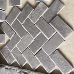 Black basalt Herringbone paving pattern