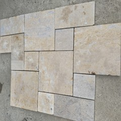 Honed surface beige limestone French Pattern for garden paving
