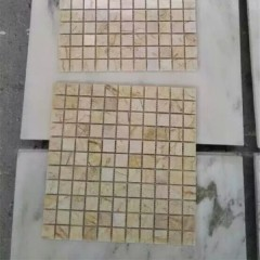 Beige marble mosaic tiles on mesh