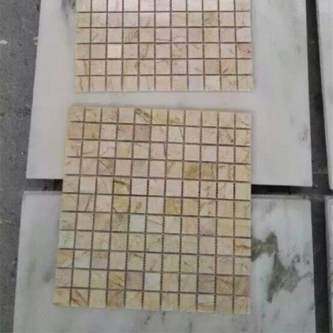 Beige marble mosaic tiles on mesh