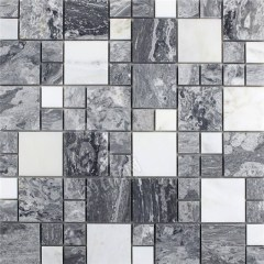 Black and white marble mosaic tiles on mesh