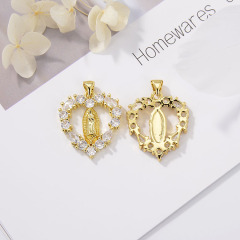 CZ8155 Fashion Zircon Micro Pave Shell Pendant Heart Mother Mary Shape Pendant For Girls