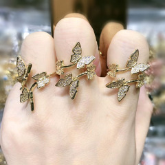 RM1117 Chic Dainty Bling Crystal Gold Plated CZ Micro Pave Butterfly Rings for Women Ladies,Diamond Finger Rings