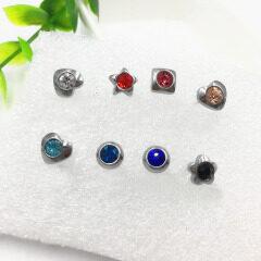 ES1013 Minimal Tiny Crystal pave stainless steel studs earrings