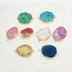 JF8250 In stock druzy stone wholesale,hot sale natural quartz geode gold plated druzy connectors,druzy