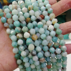 AM0921 MultiColor Amazonite Star Cut Faceted Blue Gemstone Round Loose Beads