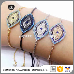 BRZ1342 Hot sale blue evil eye bracelet,adjustable cubic zirconia evil eye charm bracelet jewelry