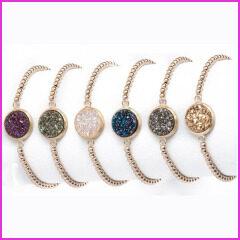 BRH1201 New Style Small Rose Gold Brass Beaded Bracelet,Round Quartz Bracelet For Women