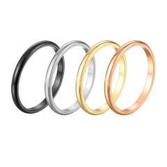 RS1003 Dainty Tiny Minimalist Stainless Steel Women's Plain Band Stacking Simple Gold Rings Wedding Band Couple Lovers Ring