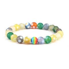 8mm matte agate bracelet gemstone elastic beaded jewelry