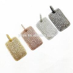 CZ6494 Wholesale micro cz pave rectangle tag charm pendant,cz micro pave dog tag pendant