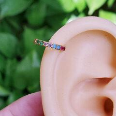 EC1663 fashion rainbow cubic zircon cuff copper women clips earrings brass clips on earring for ladies