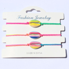 BE1011 Fashion Painting Painted Rainbow Multicolor Cowrie Shell Macrame Bracelets