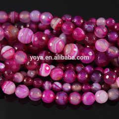AB0032 Faceted fuchsia hot pink agate beads,agate gemstone loose beads