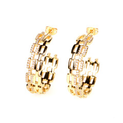 EC1668 18K Gold plated Crystal CZ Link Circle C Shape earrings,simple fashion gold jewelry Diamond CZ Hoop earring for women