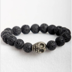 BRA1082 Lava Stone Pyrite Skull Head Mens Bracelets For Men