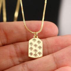 NZ1119  fashion minimal moon pendant mini star brass charm with cubic zircon women chain crescent necklace