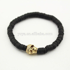 BRA0783 Fashion black polymer clay heishi beaded diamond skull bracelet,cz micro skull head bracelet
