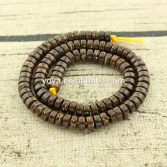 SB0695 Natural brown coconut wood heishi disc spacer beads