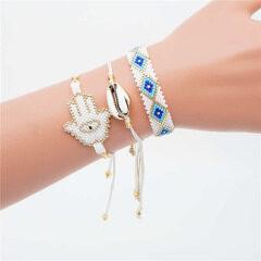 BG1018 Dainty Miyuki Seed Bead Hamsa Hand Macrame Stack Bracelets