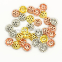 JS1380 8mm Floral Gold Bead Caps , Silver Rose Gold plated Metal Flower Cap Ends