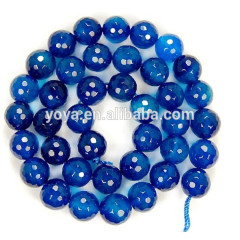 AB0006 Round Faceted Blue Agate Loose Beads