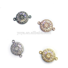 CZ6557 New style CZ pave micro crystal evil eye connector,Cubic zirconia connector