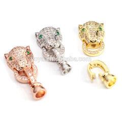 CZ6567 Wholesale CZ micro pave leopard head clasps,cubic zirconia bracelet charms connector