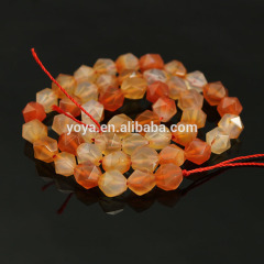 AB0686g Diamond cut faceted agate Carnelian nugget beads