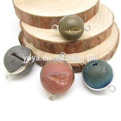 JF8267 Natural geode agate round ball druzy connectors,druzy jewelry supplies