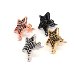 CZ7535  Gold Silver  CZ Micro Pave Star Stud Earring Post with Connector Open Loop