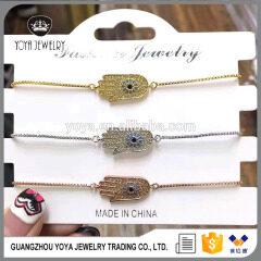 BRZ1317 Delicate silver rose gold Fatima Hand bracelet,adjustable Hamsa charm jewelry bracelet