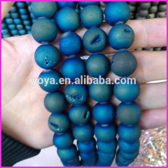 AB0289 Hot sale royal blue plated geode druzy agate round beads