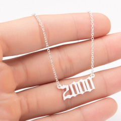 NS1053 Silver and Gold Plated Personalised Necklace High Polished Stainless Steel Best Friend Birth Year Necklace