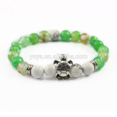 BAA1706 New arrival natural stone fire agate with tortoise,gemstone white turquoise beads bracelet
