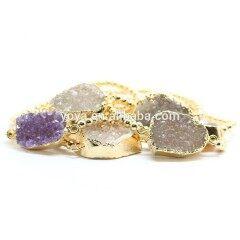 BRH1207 Trendy Tiny Gold Metal Beaded Sparkly Agate Druzy bangle bracelet for women