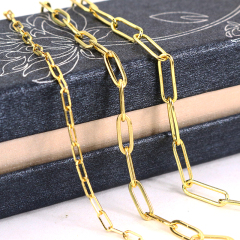 BCL1229 Hot Sale Silver 18K Gold Plated Rectangle Oval Linear Link Paper Clip Chains for Jewelry Necklace Making