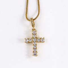 NZ1100 Chic Diamond the Christian Religion Jewelry Cubic Zirconia CZ Micro Pave Cross Pendant Chain Necklace