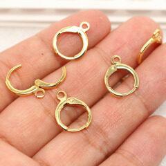 EK1009 Earring Findings 18K Gold Plated Leverback Earring Hooks ,Gold Plated Round Earwires Ear Wires