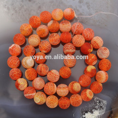 AB0262 Orange frosted matte agate beads,fire agate beads,orange weathered agate beads