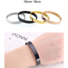 BS2026 Popular Mens Womens Simple Plain Gold plated Stainless Steel Bangles Bracelets