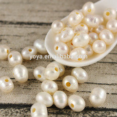 FWP009 drill a big hole 2.0mm natural fresh water pearl for leather,big hole beads,large hole pearl beads