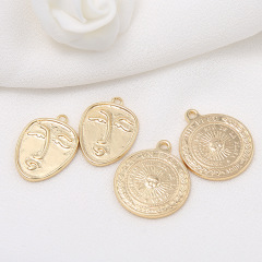 JS1505 High Quality Chic 14k Gold Plated Smile Sun Face Medallion Charm Necklace Pendants
