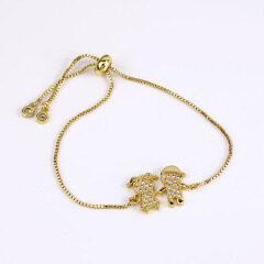 BC1259 Dainty Diamond Cubic Zirconia Girl and girl Chain Bracelet,Diamond CZ Adjustable Bracelets  Child Children Charm Bracelet