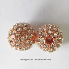 CP5002 Cheap Price Gold Plated Alloy Crystal Pave Bling Ball Beads,Rhinestone Pave Spacer Bead