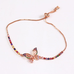 BC1254  Fashion Chic Rainbow Diamond CZ Micro Pave Butterfly Charm Tennis Chain Bracelets for Women girls