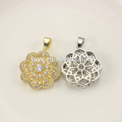 CZ6662 CZ micro pave flower pendant charm,beads for saree blouse