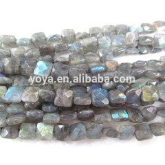 LA5003 Faceted Labradorite Flat Square Box Beads