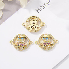 CZ8148 Fashion kids charms connector for bracelet children jewelry accessories  cubic zircon boy and girl connector findings